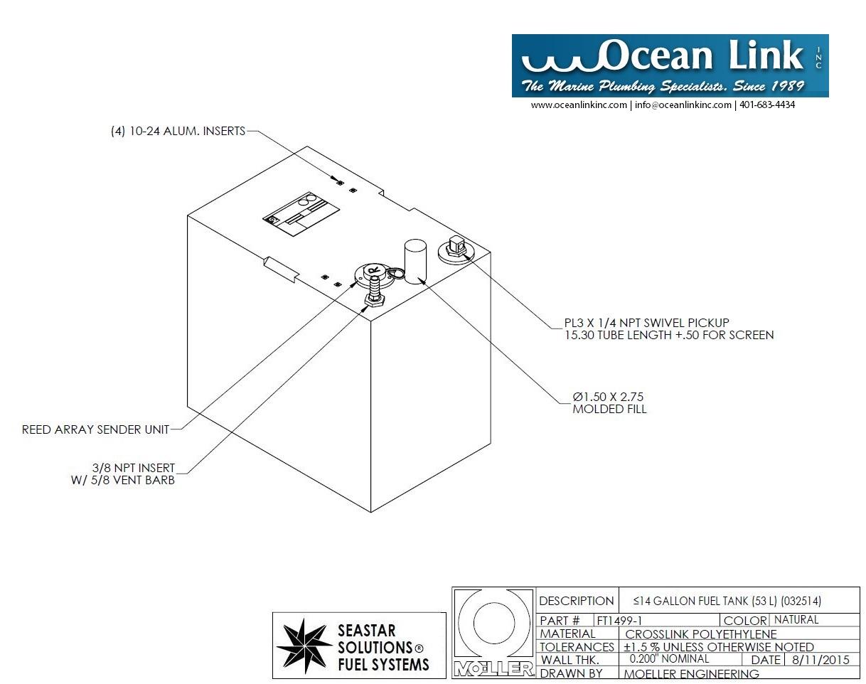 moeller 14 gallon marine fuel tank Universal Fuel Tank Sender 14 gallon rectangular shaped fuel tank, 18\u2033x11 75\u2033x19\u2033, folt1499 1m