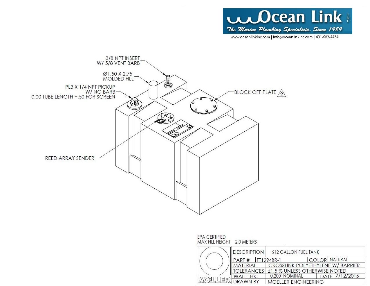 12 gallon rectangular shaped fuel tank, 20″x14″x14 50″, folt1294br-1m
