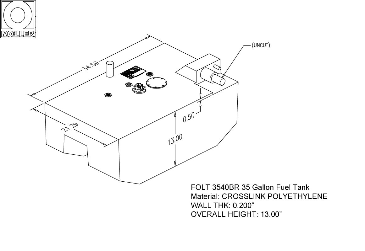 35 Gallon Belly Shaped Fuel Tank, 34.59″x21.29″x21.25″, FOLT3540BRM