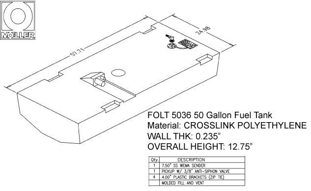 50 Gallon Belly Shaped Fuel Tank, 57.71″x24.98″x12.75″, FOLT5036M