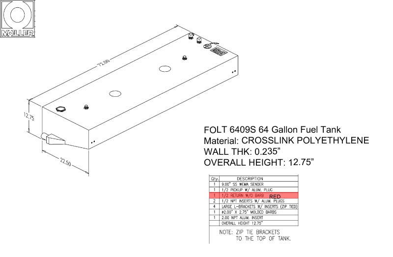 64 Gallon Rectangular Shaped Diesel Fuel Tank, 72″x22.5″x12.75″, FDOLT6409SM