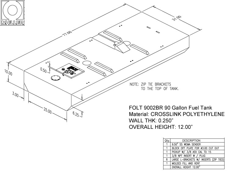 90 Gallon Belly Shaped Fuel Tank, 77″x31″x12″, FOLT9002BRM