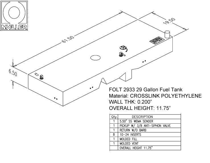 29 Gallon Other Shaped Fuel Tank, 61.5″x19.5″x11.75″, FOLT2933M