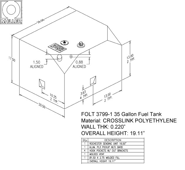 37 Gallon Other Shaped Fuel Tank, 26″x20.5″x19.11″, FOLT3799-1M (032537)