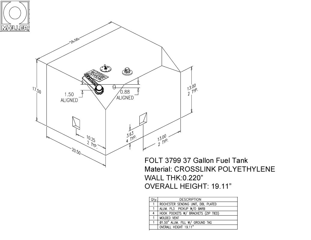 37 Gallon Other Shaped Fuel Tank, 26″x20.5″x19.11″, FOLT3799M