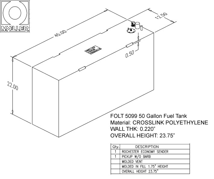 50 Gallon Rectangular Shaped Fuel Tank, 45″x12.5″x23.75″, FOLT5099M