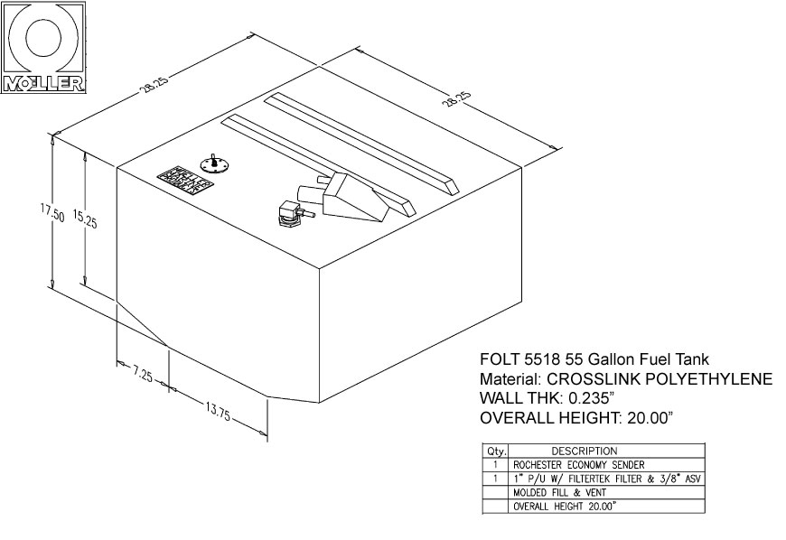 55 Gallon Belly Shaped Fuel Tank, 28.25″x28.25″x20″, FOLT5518M