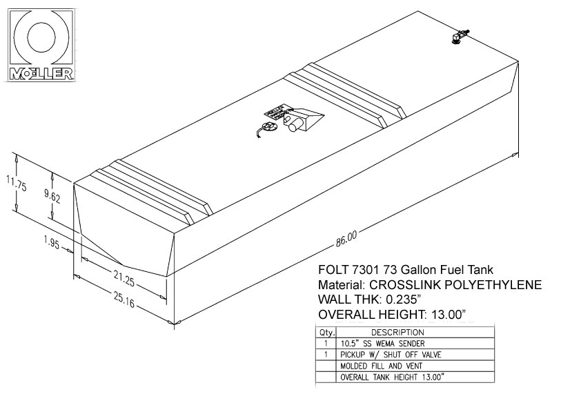 73 Gallon Belly Shaped Fuel Tank, 86″x26″x13″, FOLT7301M