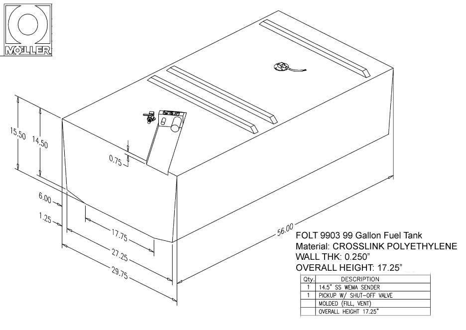 99 Gallon Rectangular Shaped Fuel Tank, 56″x29.75″x17.25″, FOLT9903M (032699)