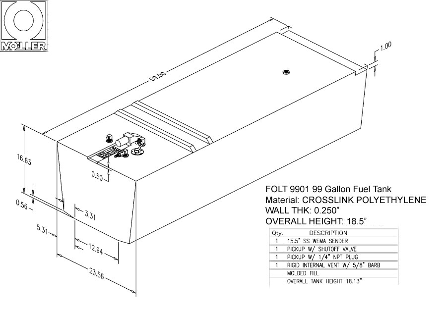 99 Gallon Rectangular Shaped Fuel Tank, 69″x24″x18.5″, FOLT9901M (032599)