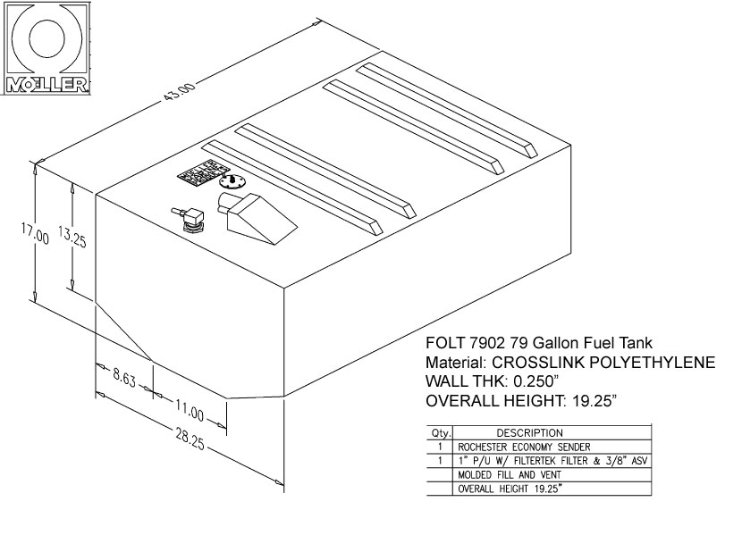 79 Gallon Belly Shaped Fuel Tank, 43″x28.25″x19.25″, FOLT7902M
