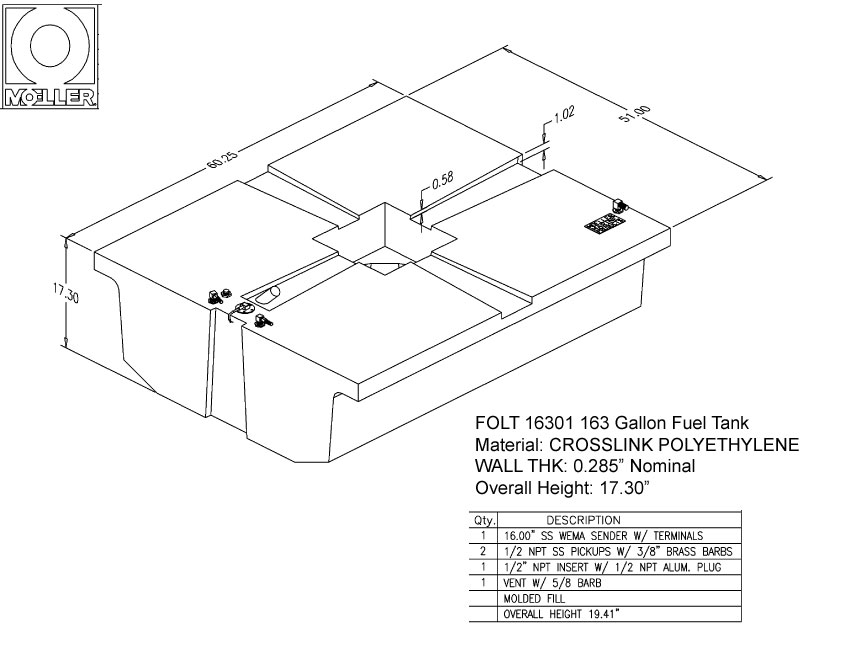 163 Gallon Other Shaped Fuel Tank, 60.25″x51″x17.25″, FOLT16301M