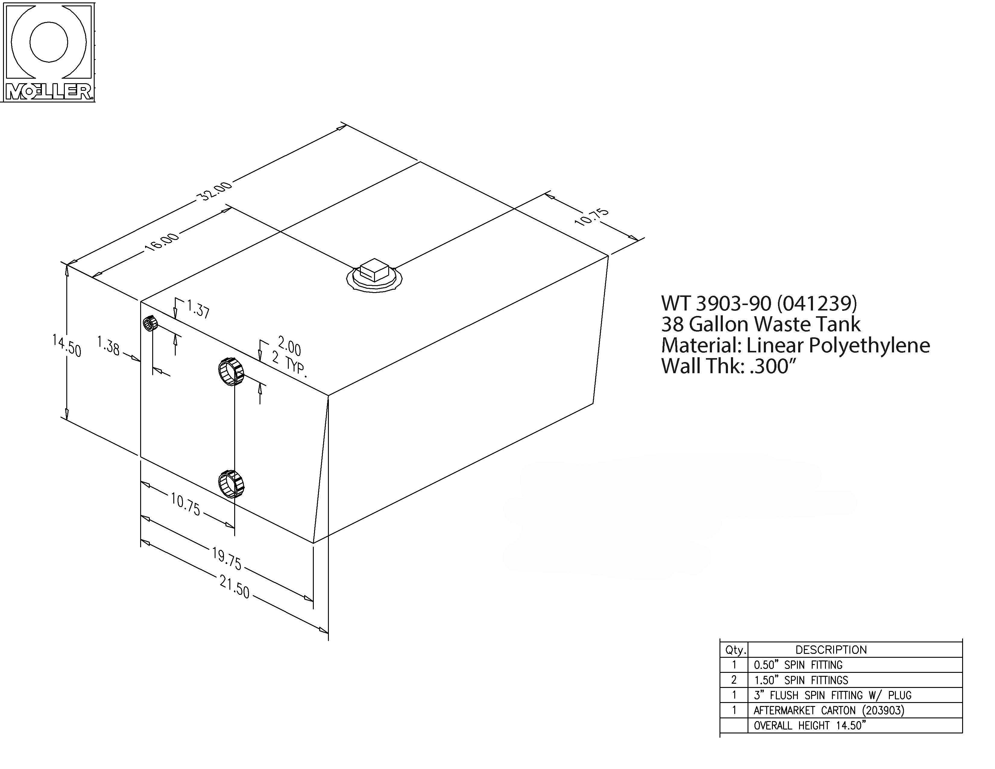 39 Gallon Rectangular Shaped Waste/Water Tank, 32″x21.5″x14.5″, WT3903-90 (041239)