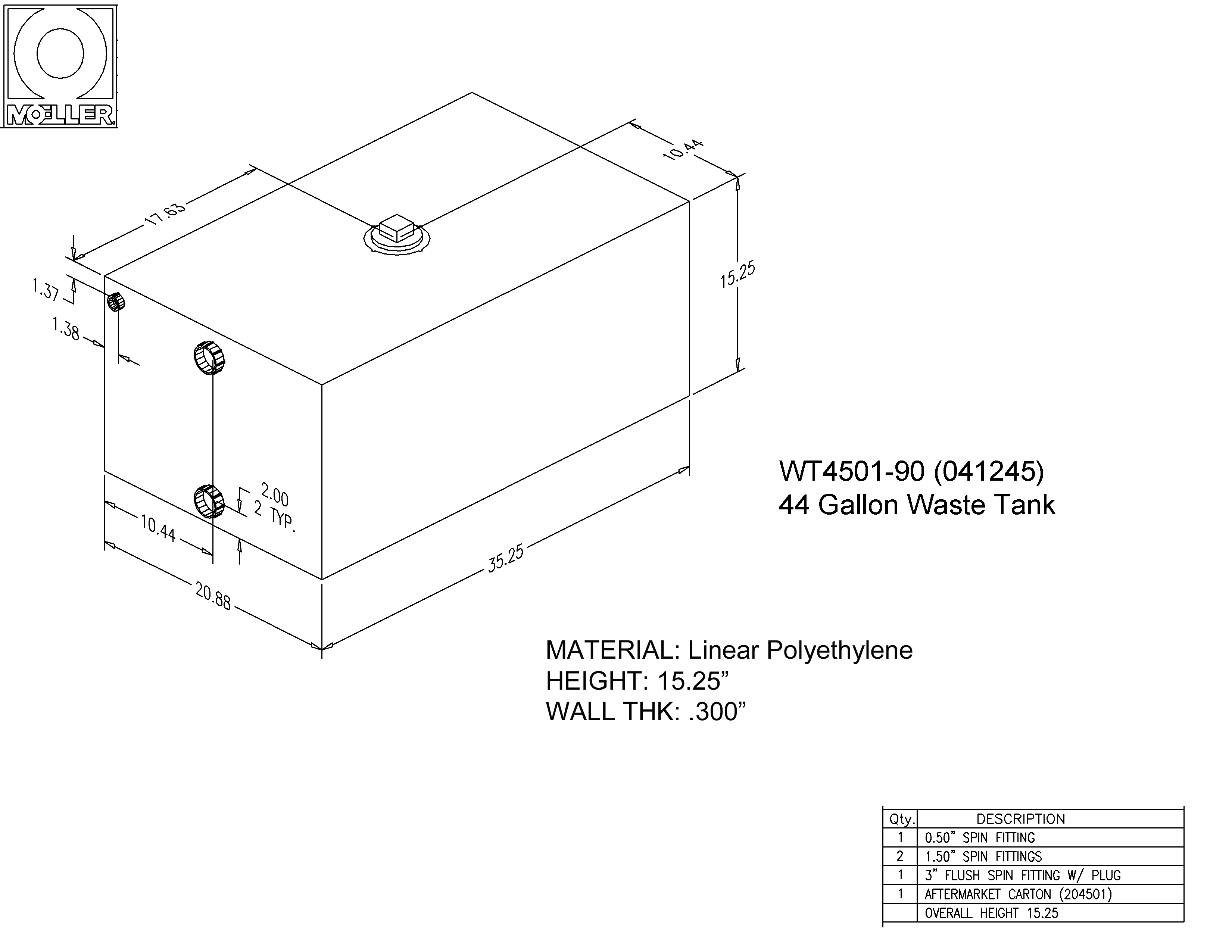 44 Gallon Rectangular Shaped Waste/Water Tank, 36.25″x20.88″x15.25″, WT4501-90 (041245)