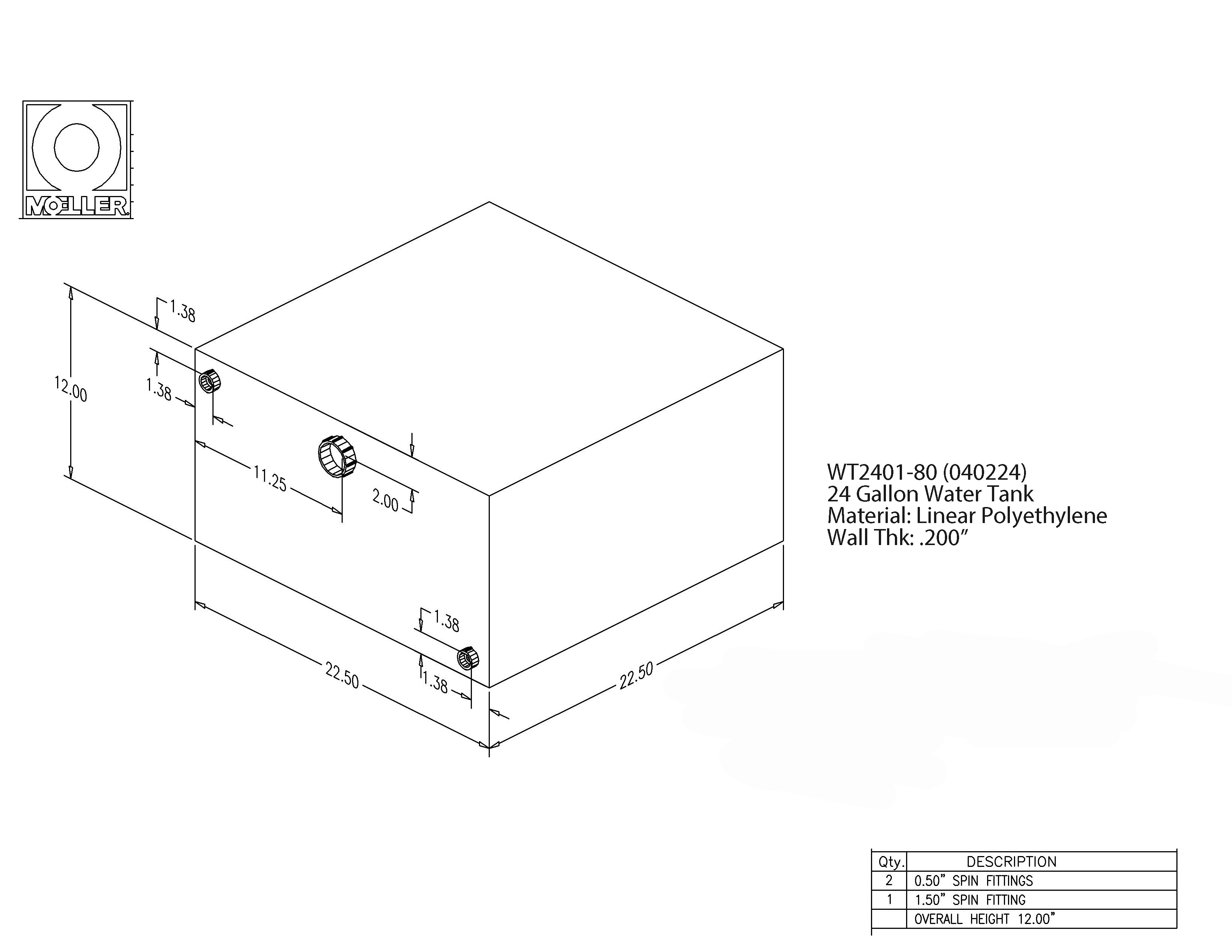 24 Gallon Rectangular Shaped Waste/Water Tank, 22.5″x22.5″x12″, WT2401-80 (040224)