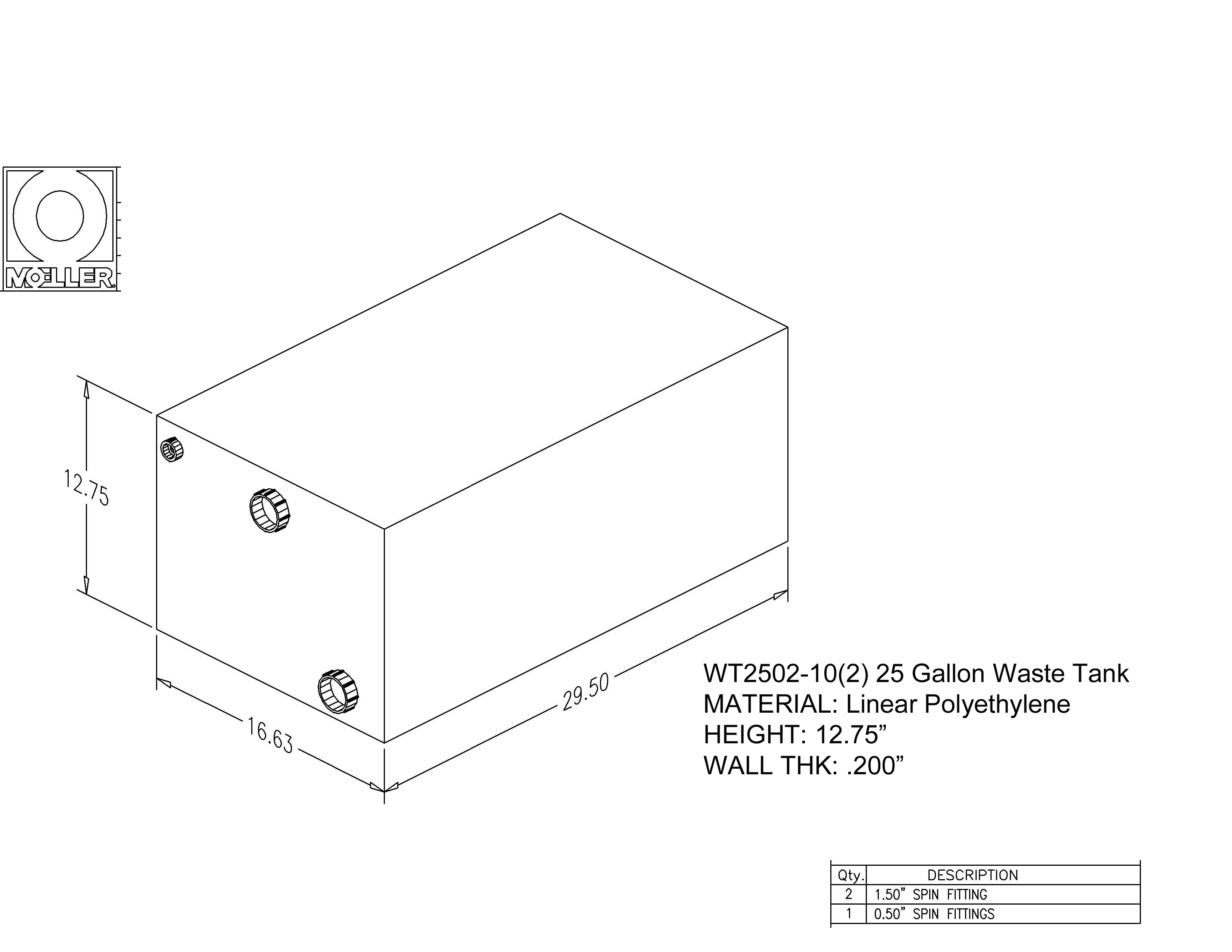 25 Gallon Rectangular Shaped Waste/Water Tank, 29.5″x16.63″x12.75″, 041225