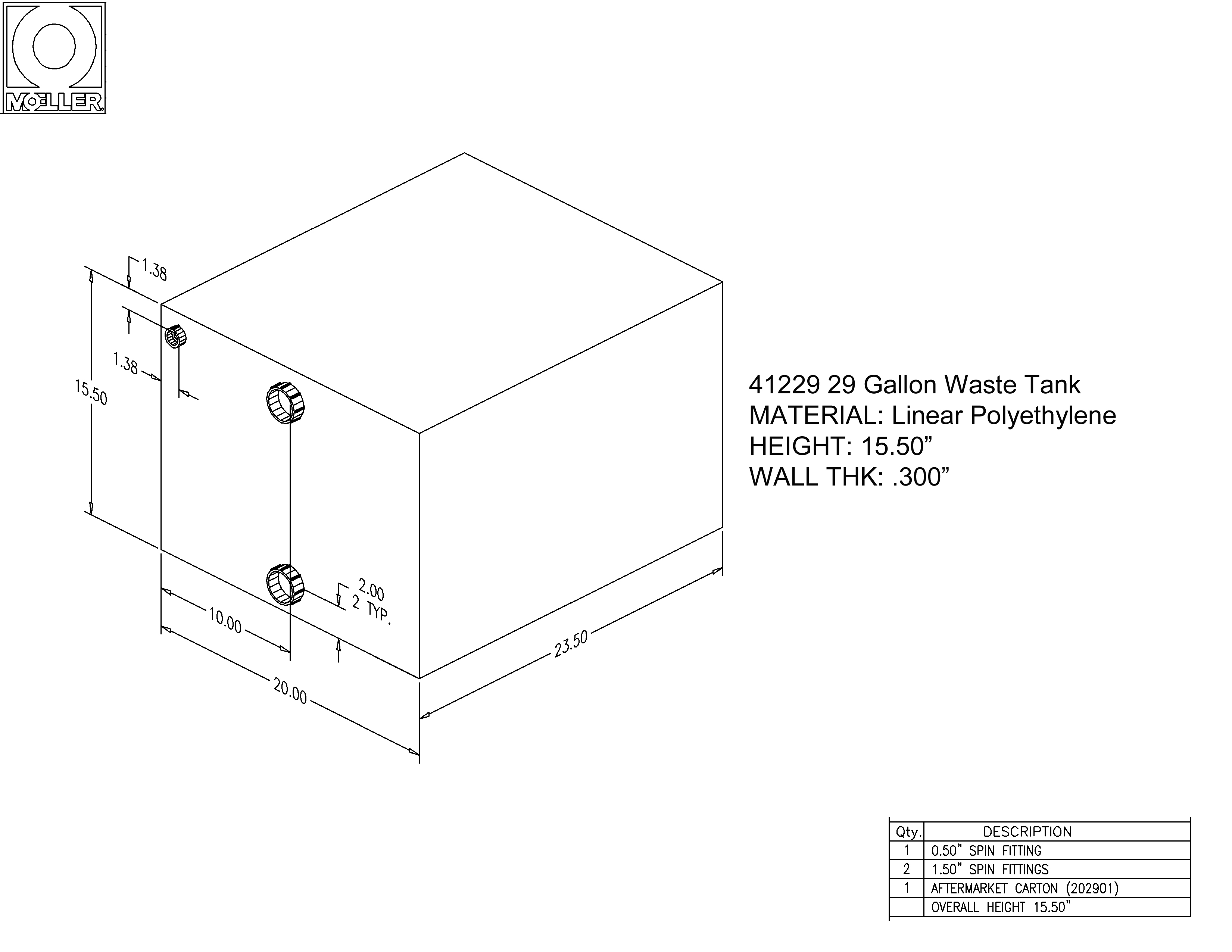 29 Gallon Rectangular Shaped Waste/Water Tank, 23.5″x20″x15.5″, 041229