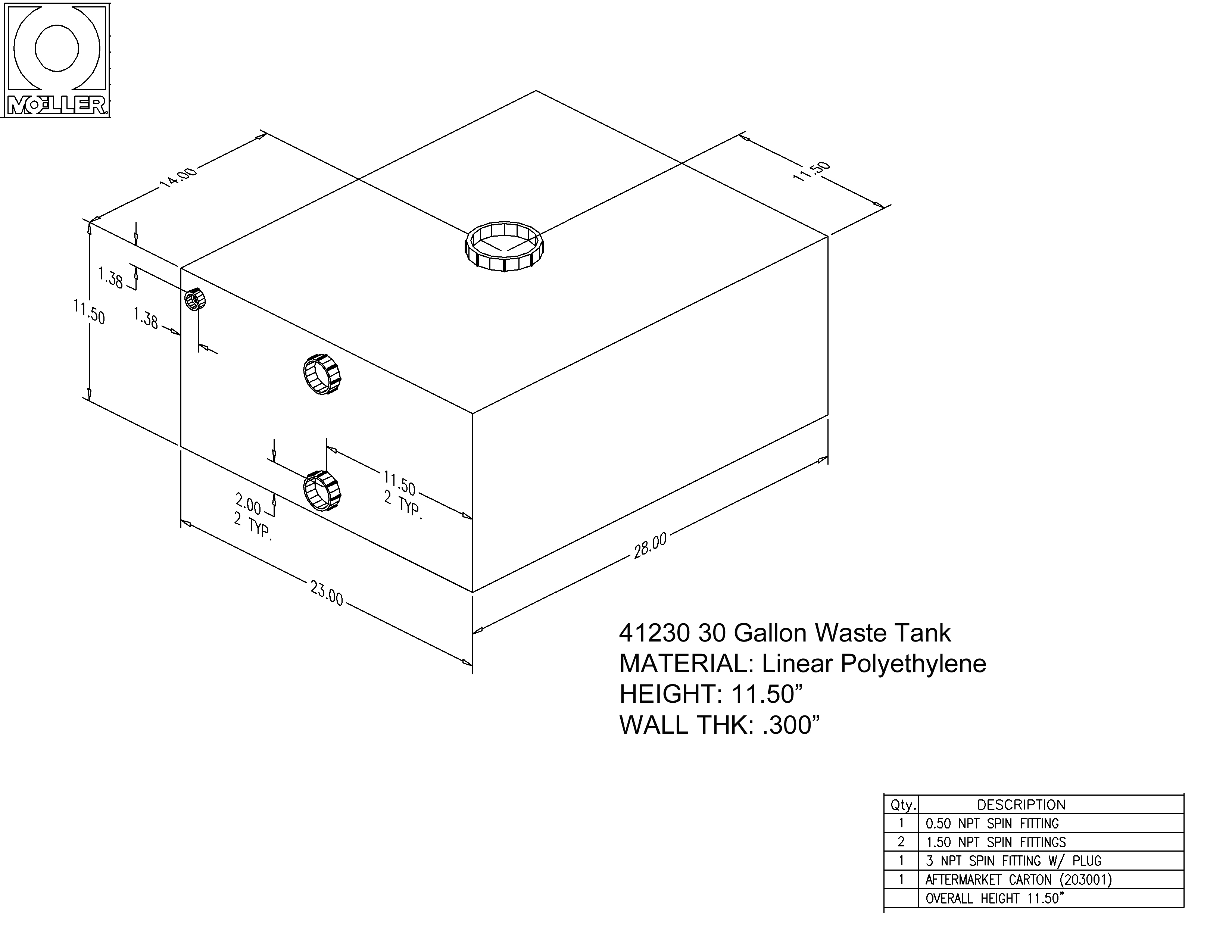 30 Gallon Rectangular Shaped Waste/Water Tank, 28″x23″x11.5″, WT3001-10 (041230)