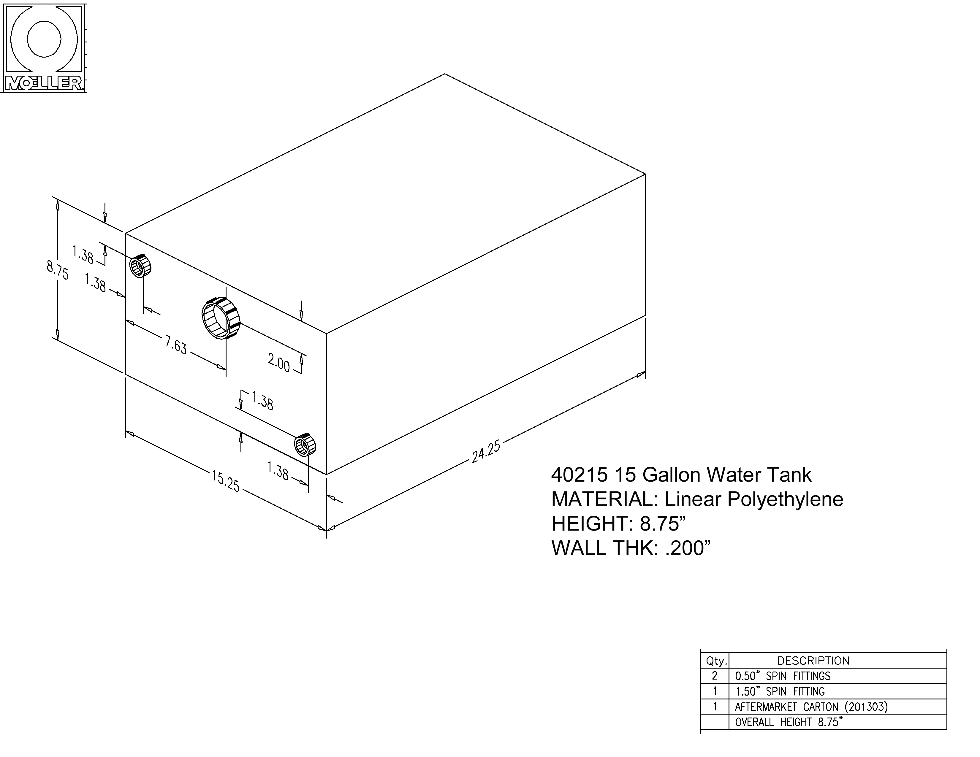 15 Gallon Rectangular Shaped Water Tank, 24.25″x15.25″x8.75″, 040215