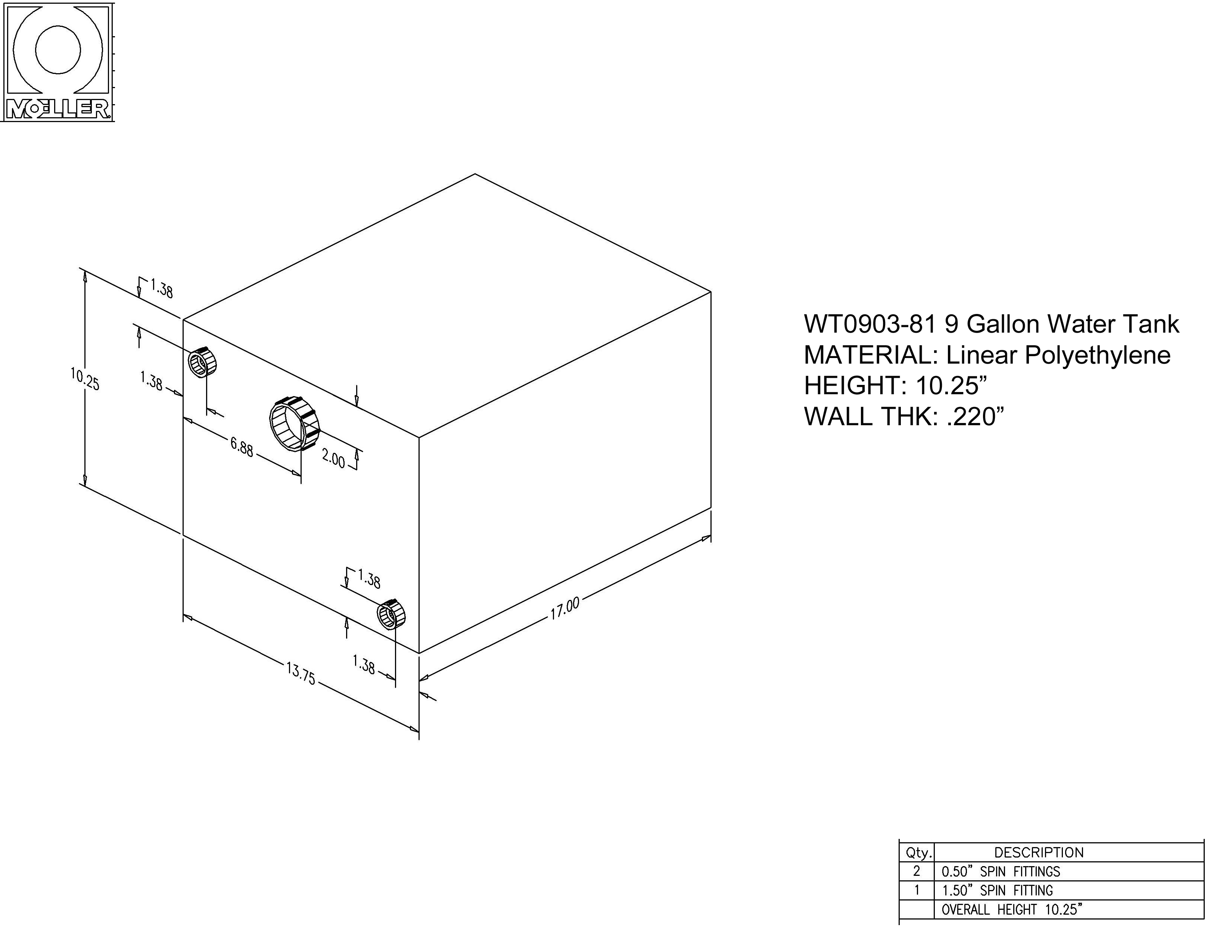 9 Gallon Rectangular Shaped Water Tank, 17″x13.75″x10.25″, WT0903-81 (040209)