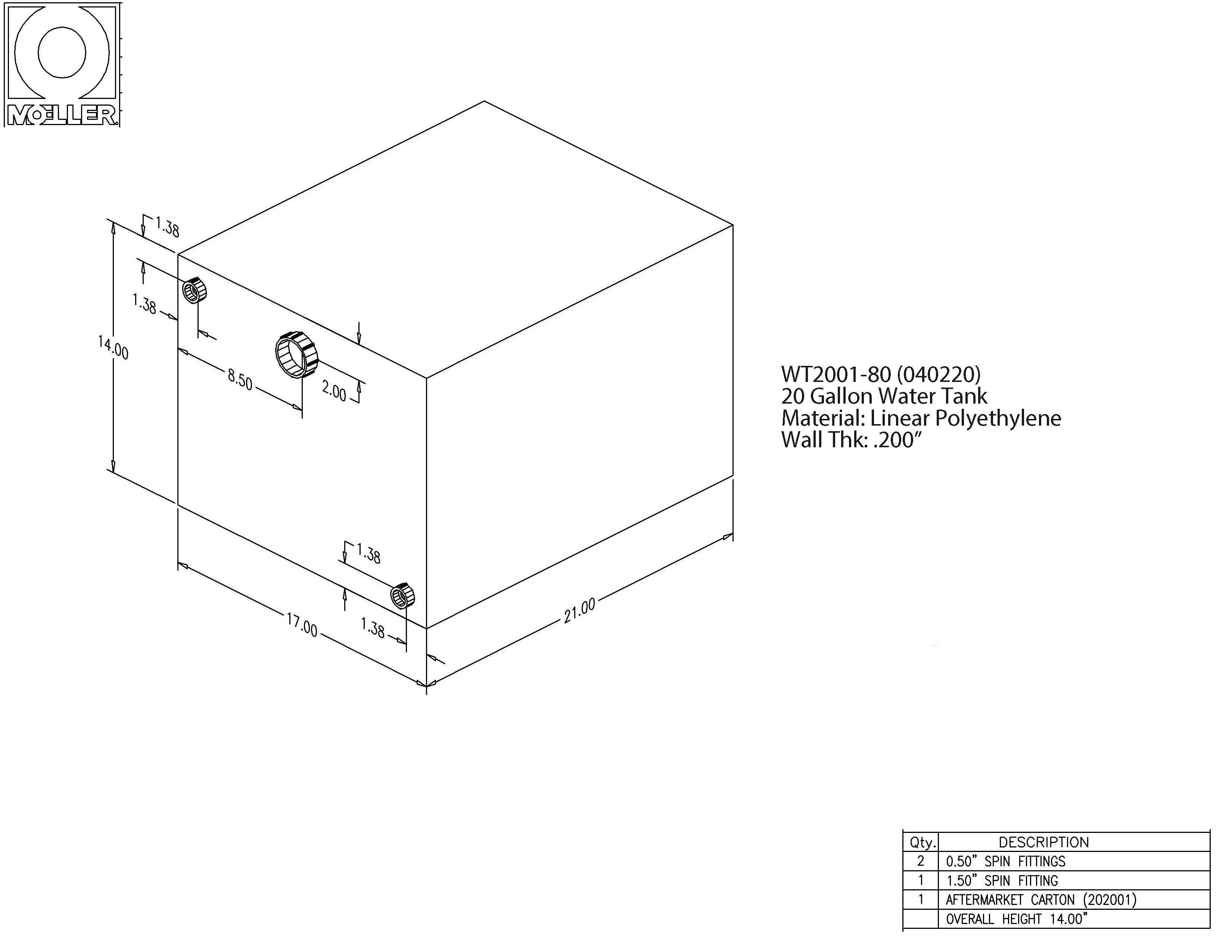20 Gallon Rectangular Shaped Waste/Water Tank, 21″x17″x14″, WT2001-80 (040220)