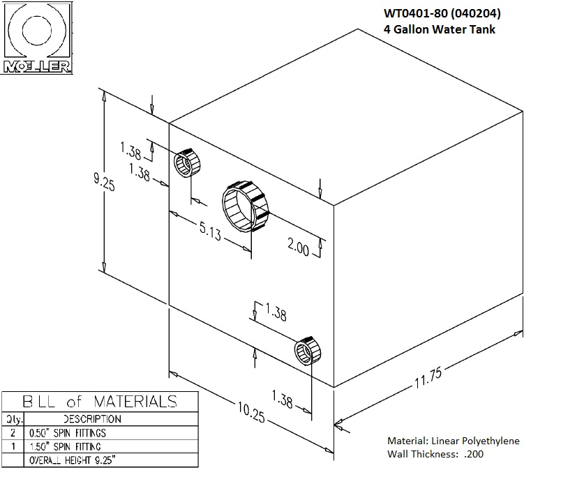 4 Gallon Rectangular Shaped Waste/Water Tank, 12.75″x10.25″x9.25″, WT0401-80 (040204)