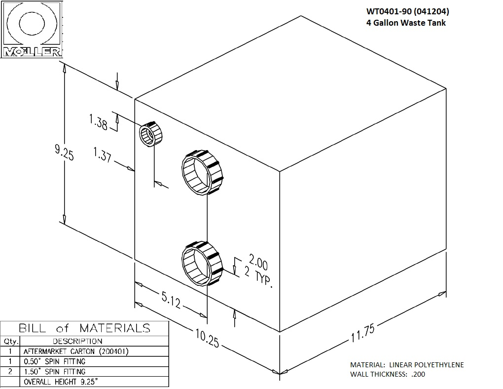 4 Gallon Rectangular Shaped Waste/Water Tank, 12″x10.25″x9.25″, WT0401-90 (041204)