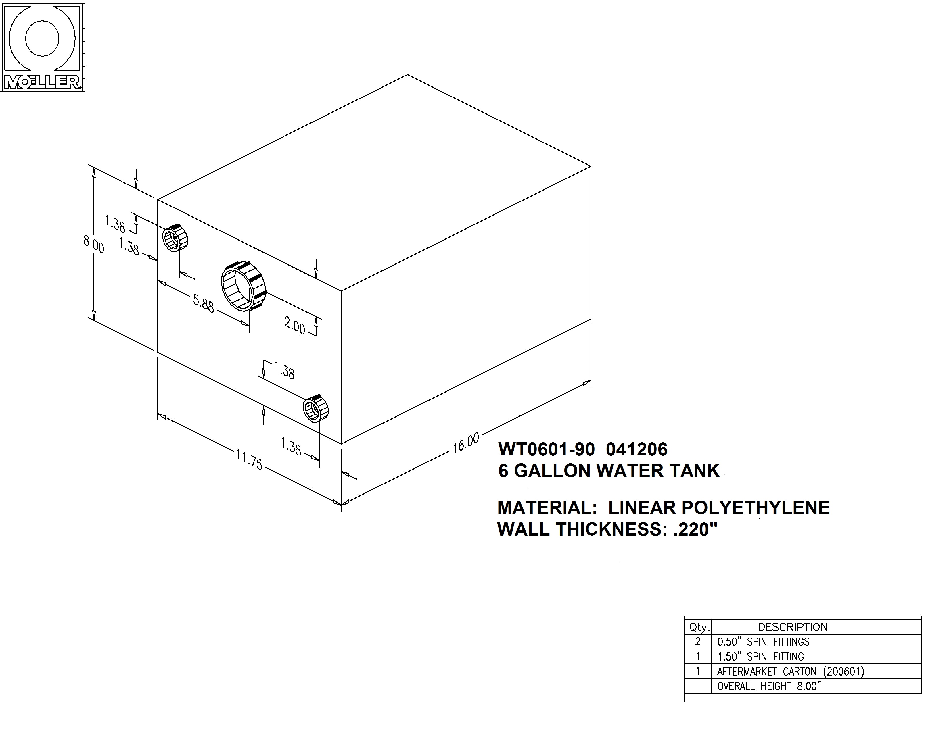 6 Gallon Rectangular Shaped Waste/Water Tank, 17″x11.75″x8″, WT0601-80 (040206)