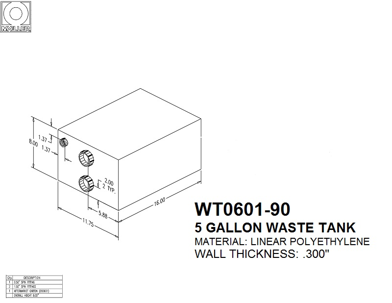 5 Gallon Rectangular Shaped Waste/Water Tank, 17″x11.75″x8″, WT0601-90 (041206)