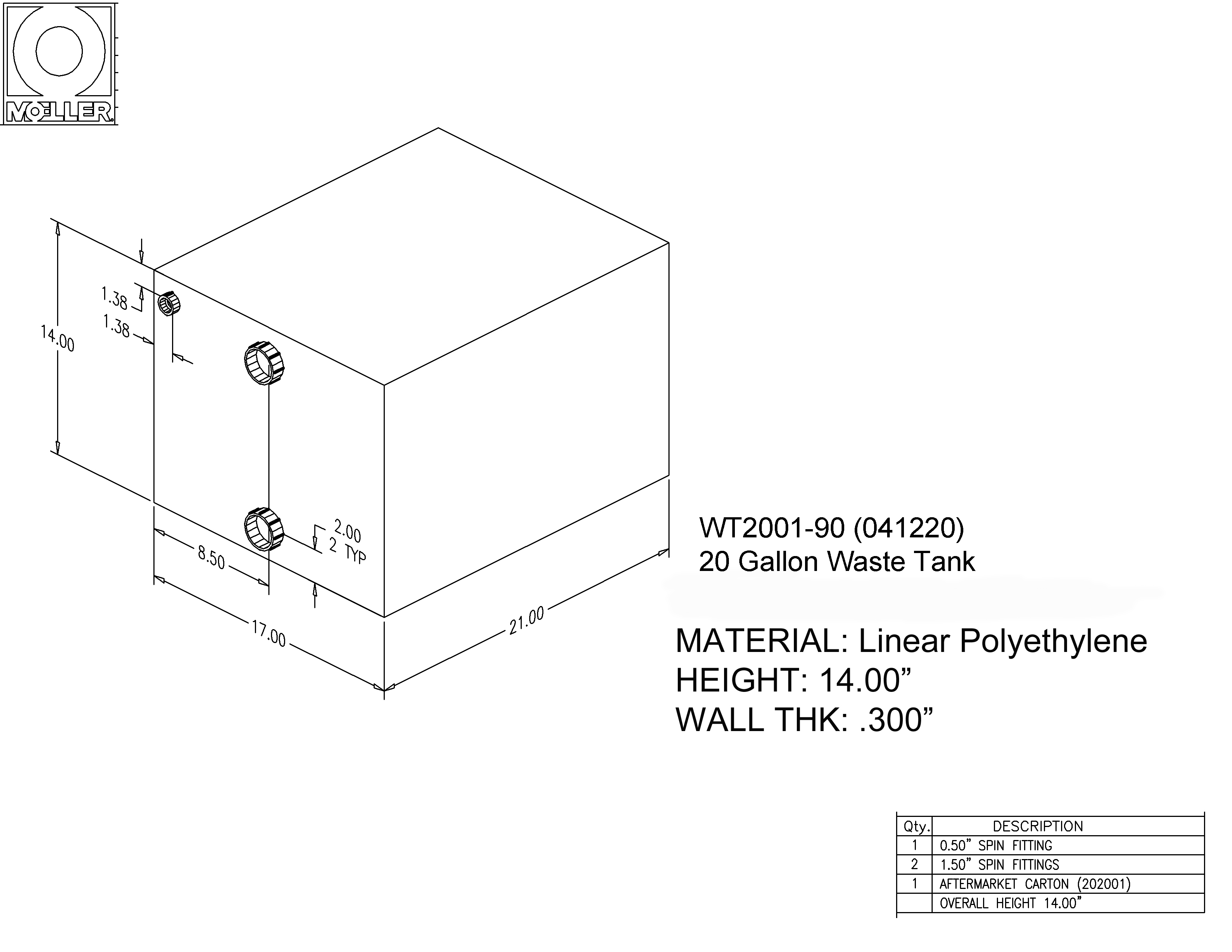 20 Gallon Rectangular Shaped Waste/Water Tank, 21″x17″x14″, WT2001-90 (041220)