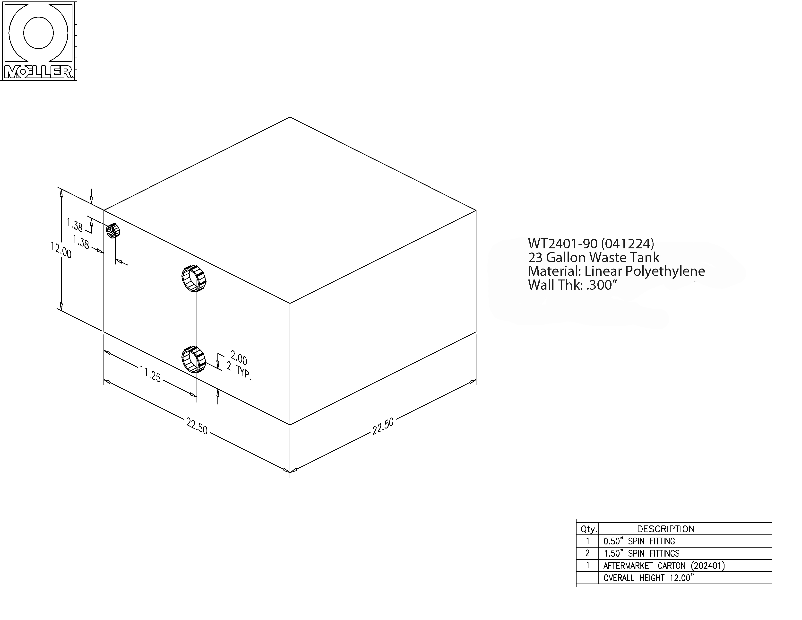 23 Gallon Rectangular Shaped Waste/Water Tank, 22.5″x22.5″x12″, WT2401-90 (041224)