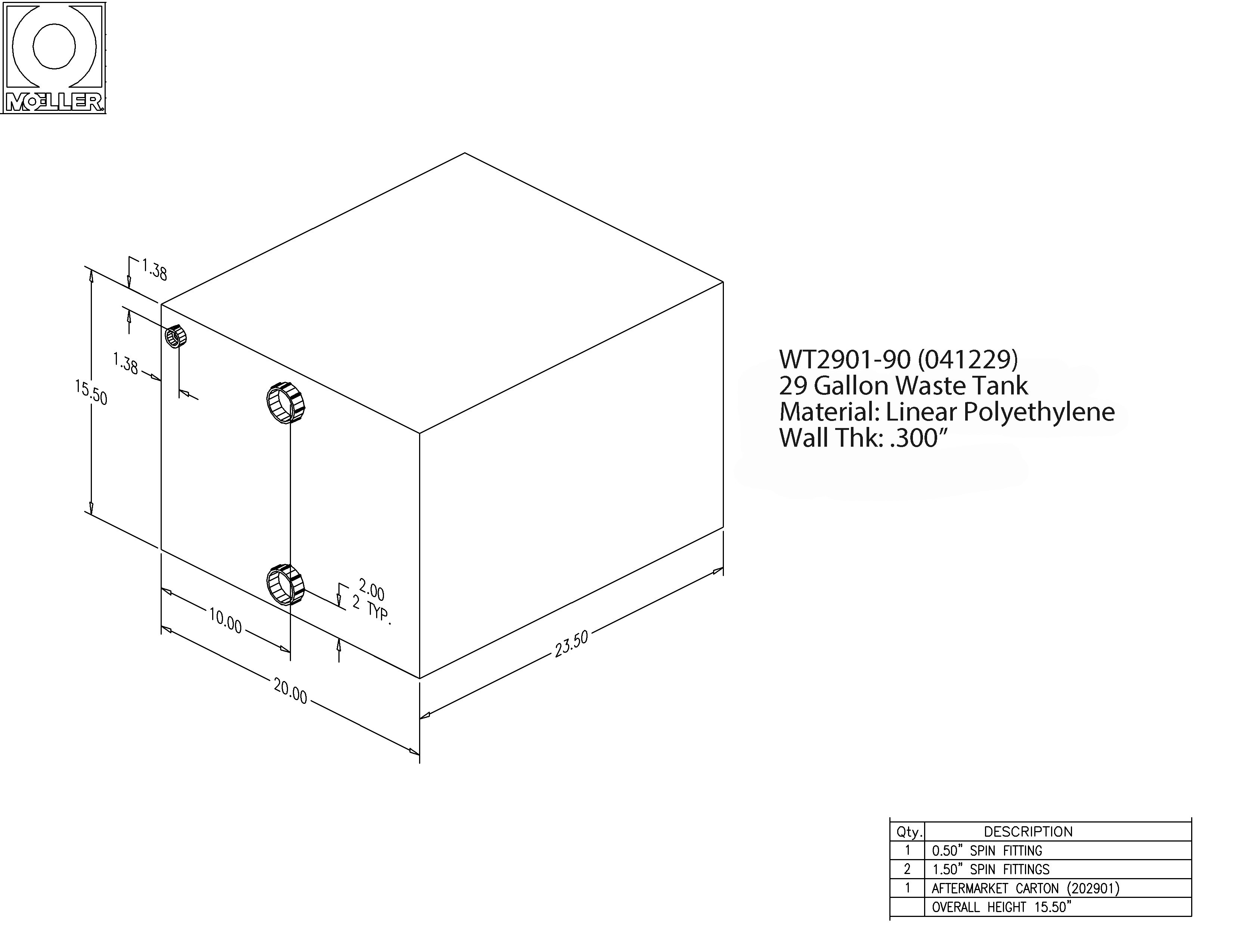 29 Gallon Rectangular Shaped Waste/Water Tank, 23.5″x20″x15.5″, WT2901-90 (040229)