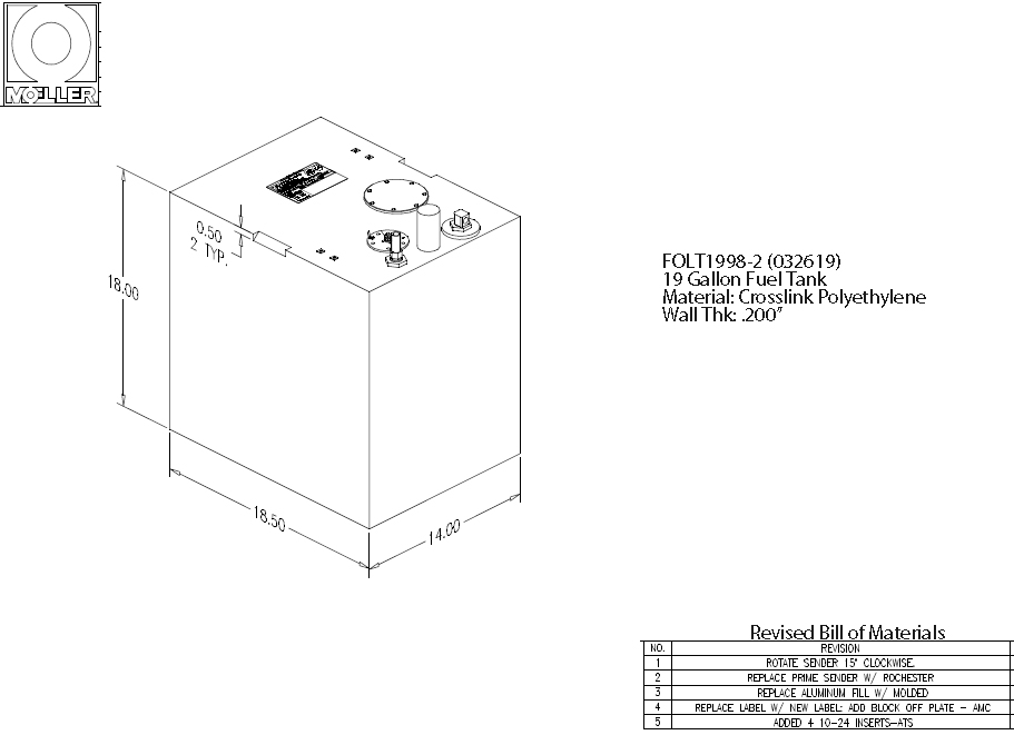 19 Gallon Rectangular Shaped Fuel Tank, 18.5″x14″x18″, FOLT1998-2 (032619)