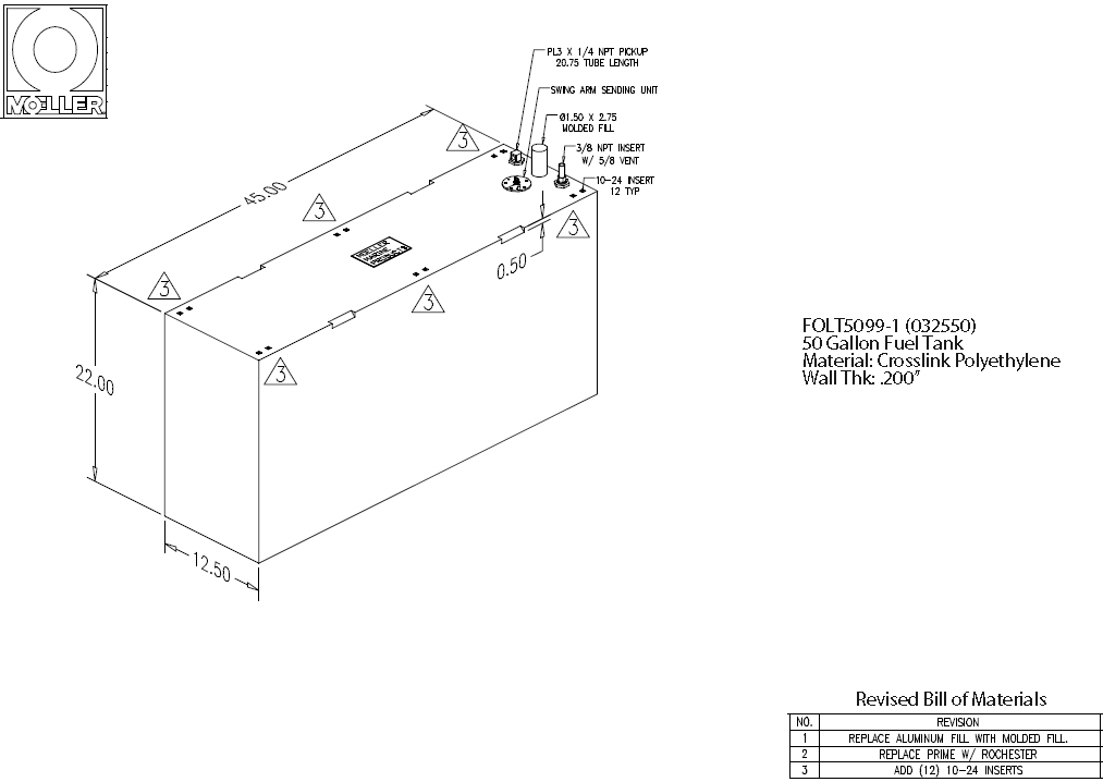 50 Gallon Rectangular Shaped Fuel Tank, 45″x12.50″x24.75″, FOLT5099-1 (032550)