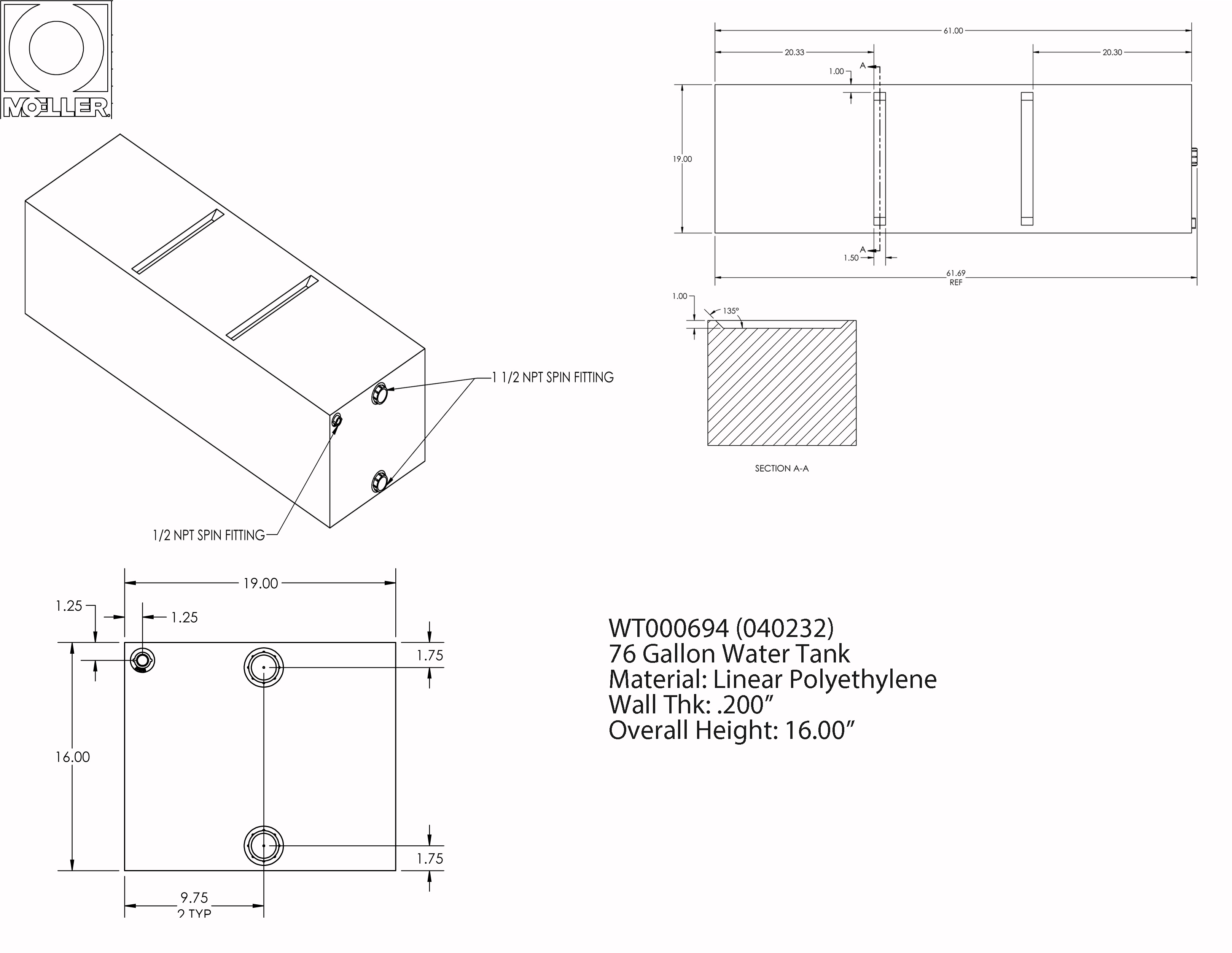 76 Gallon Rectangular Shaped Waste/Water Tank, 61″x19″x16″, WT000694 (040232)