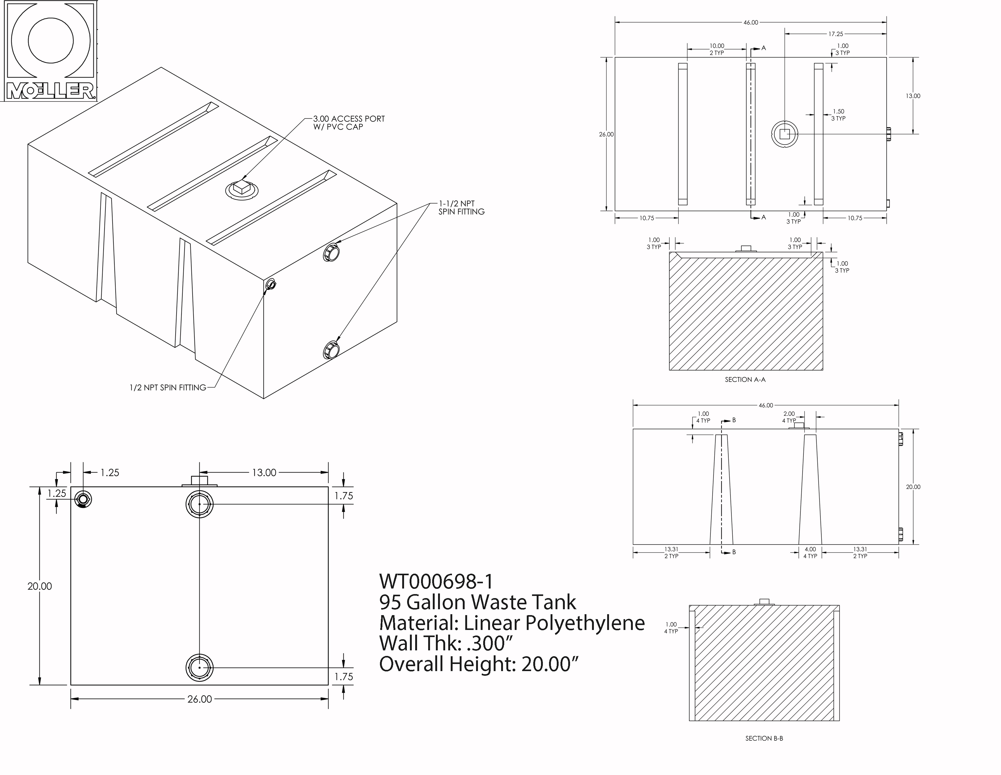 95 Gallon Rectangular Shaped Waste/Water Tank, 46″x26″x20″, WT000698-1