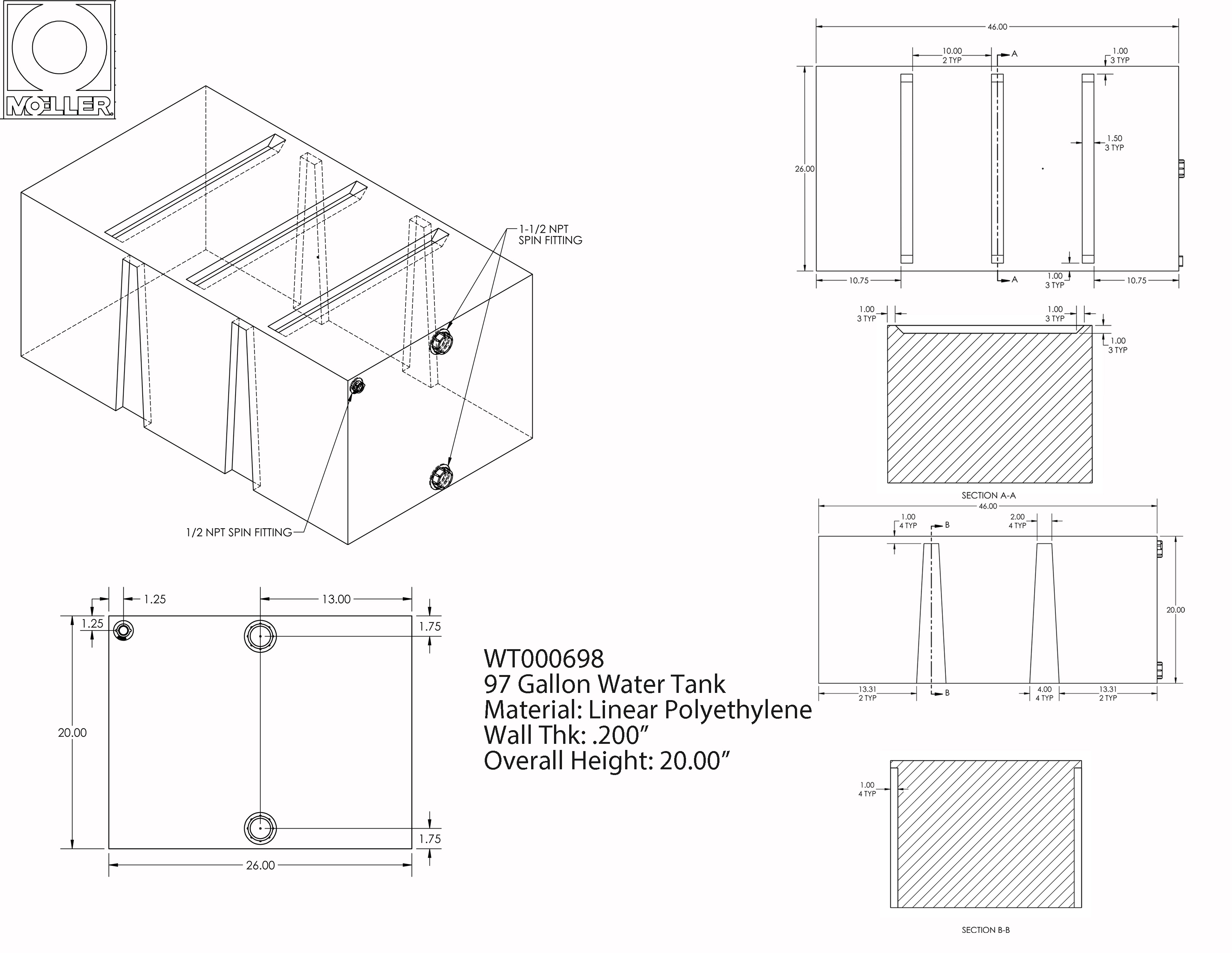 97 Gallon Rectangular Shaped Waste/Water Tank, 46″x26″x20″, WT000698