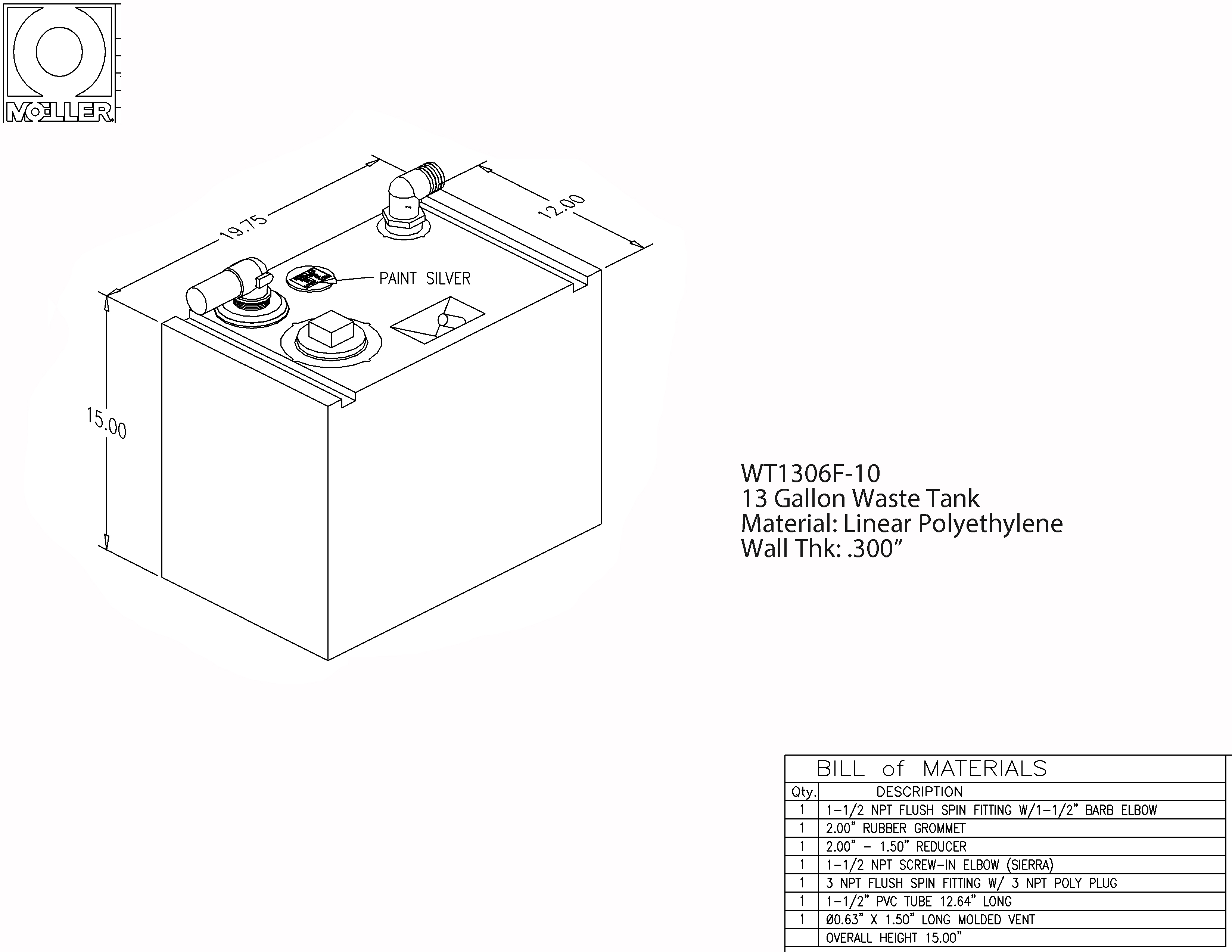 13 Gallon Rectangular Shaped Waste/Water Tank, 19.75″x12″x15″, WT1306F-10
