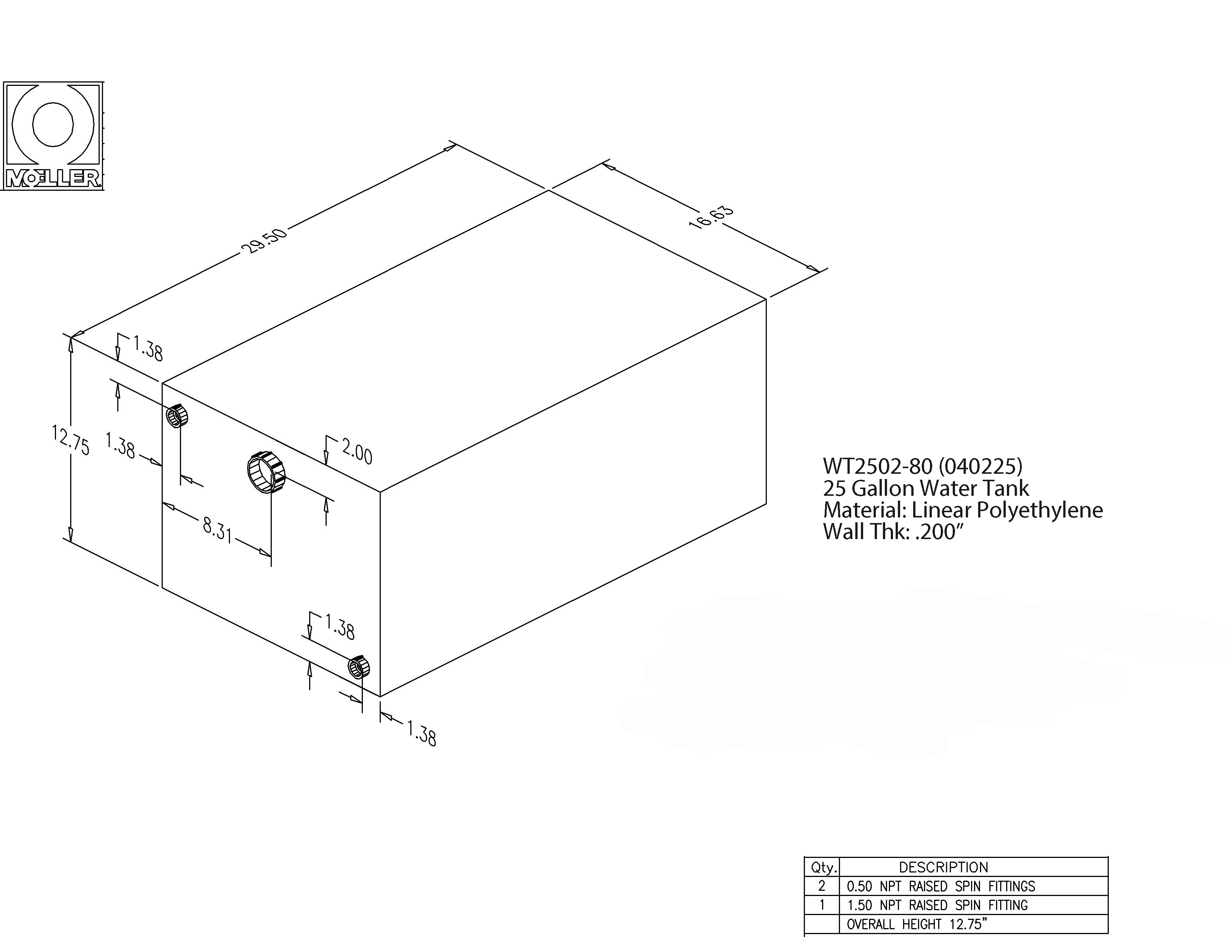25 Gallon Rectangular Shaped Waste/Water Tank, 29.5″x16.63″x12.75″, WT2502-80 (040225)