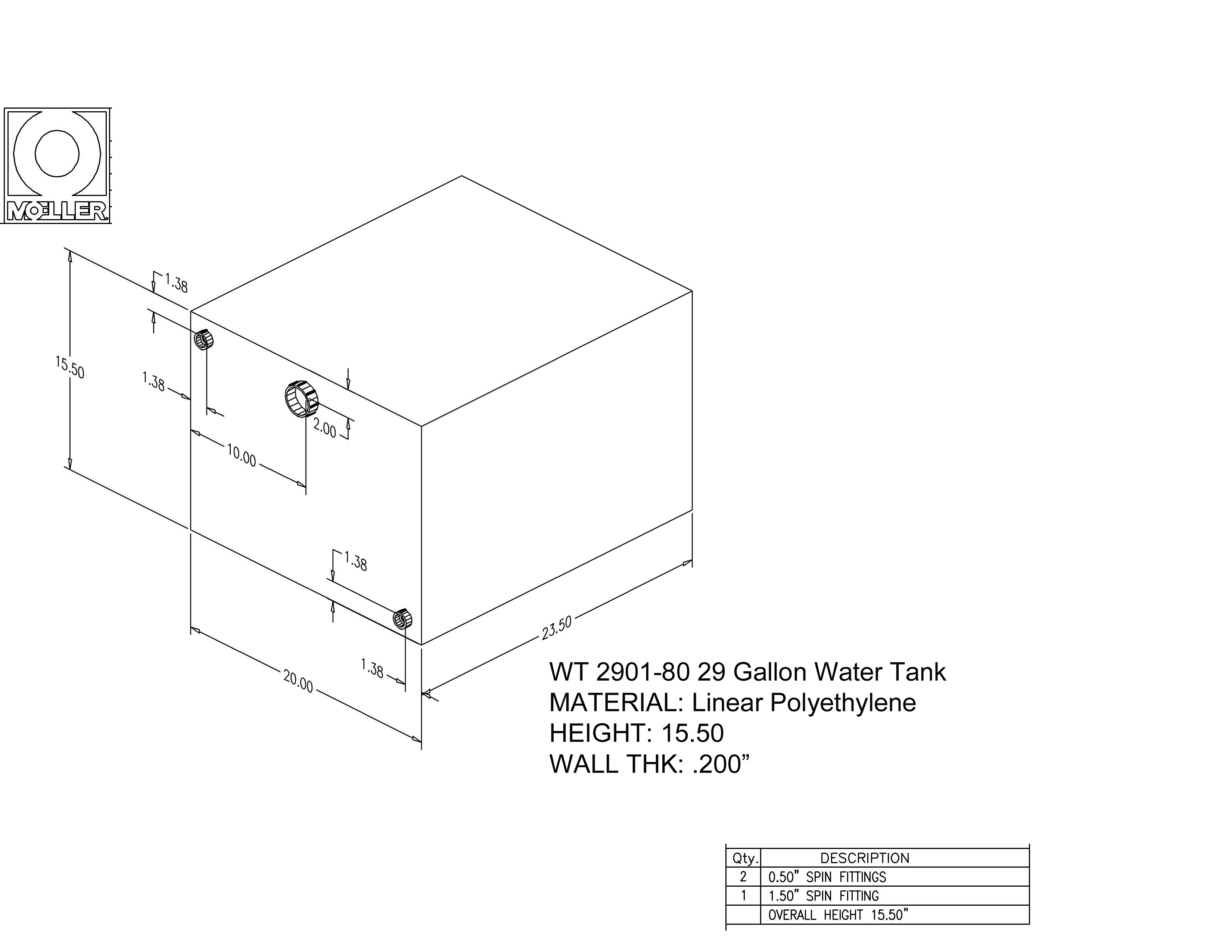 29 Gallon Rectangular Shaped Waste/Water Tank, 23.5″x20″x15.5″, WT2901-80