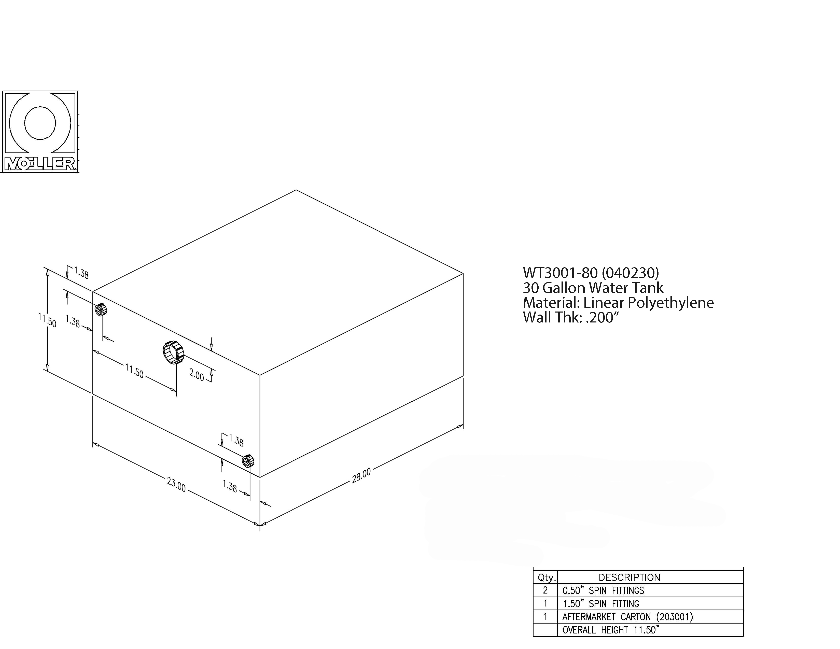 30 Gallon Rectangular Shaped Waste/Water Tank, 28″x23″x11.5″, WT3001-80 (040230)