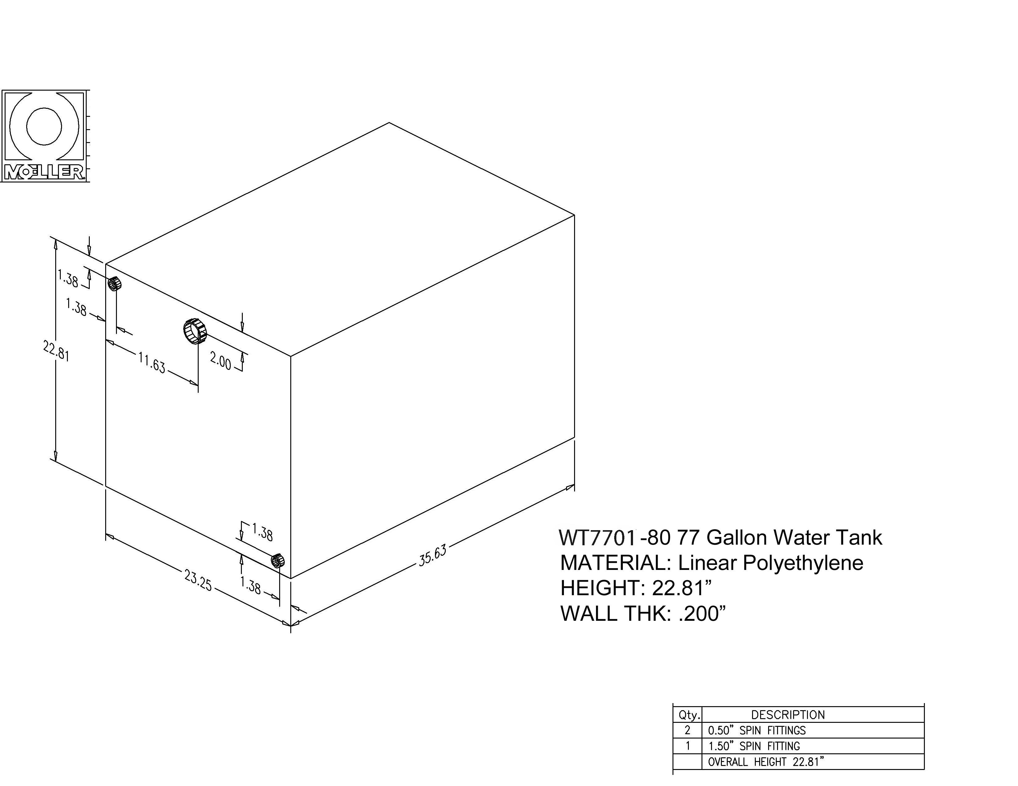 77 Gallon Rectangular Shaped Waste/Water Tank, 35.63″x23.25″x22.81″, WT7701-80 (040277)