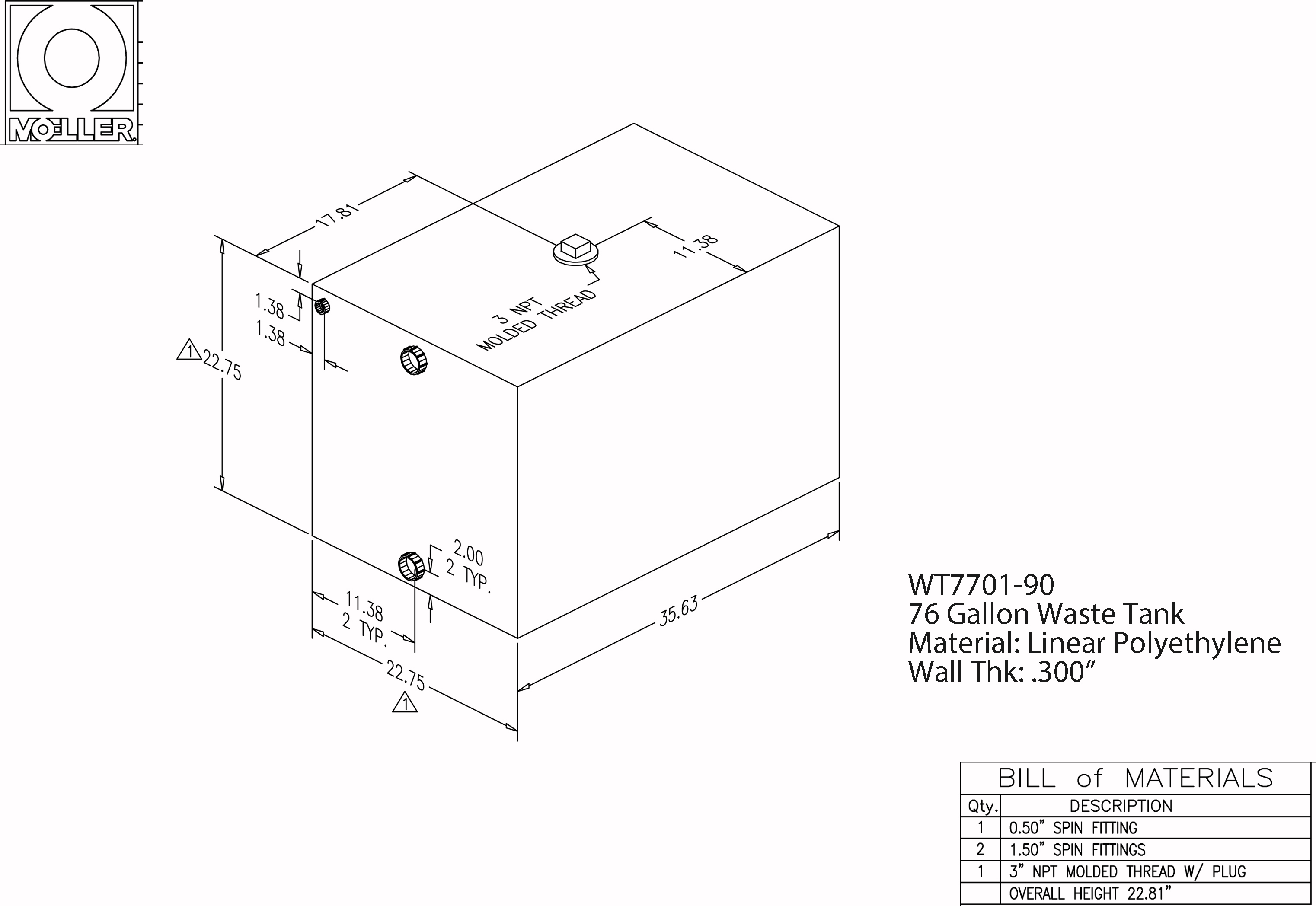 76 Gallon Rectangular Shaped Waste/Water Tank, 35.63″x23.25″x22.81″, WT7701-90 (041277)