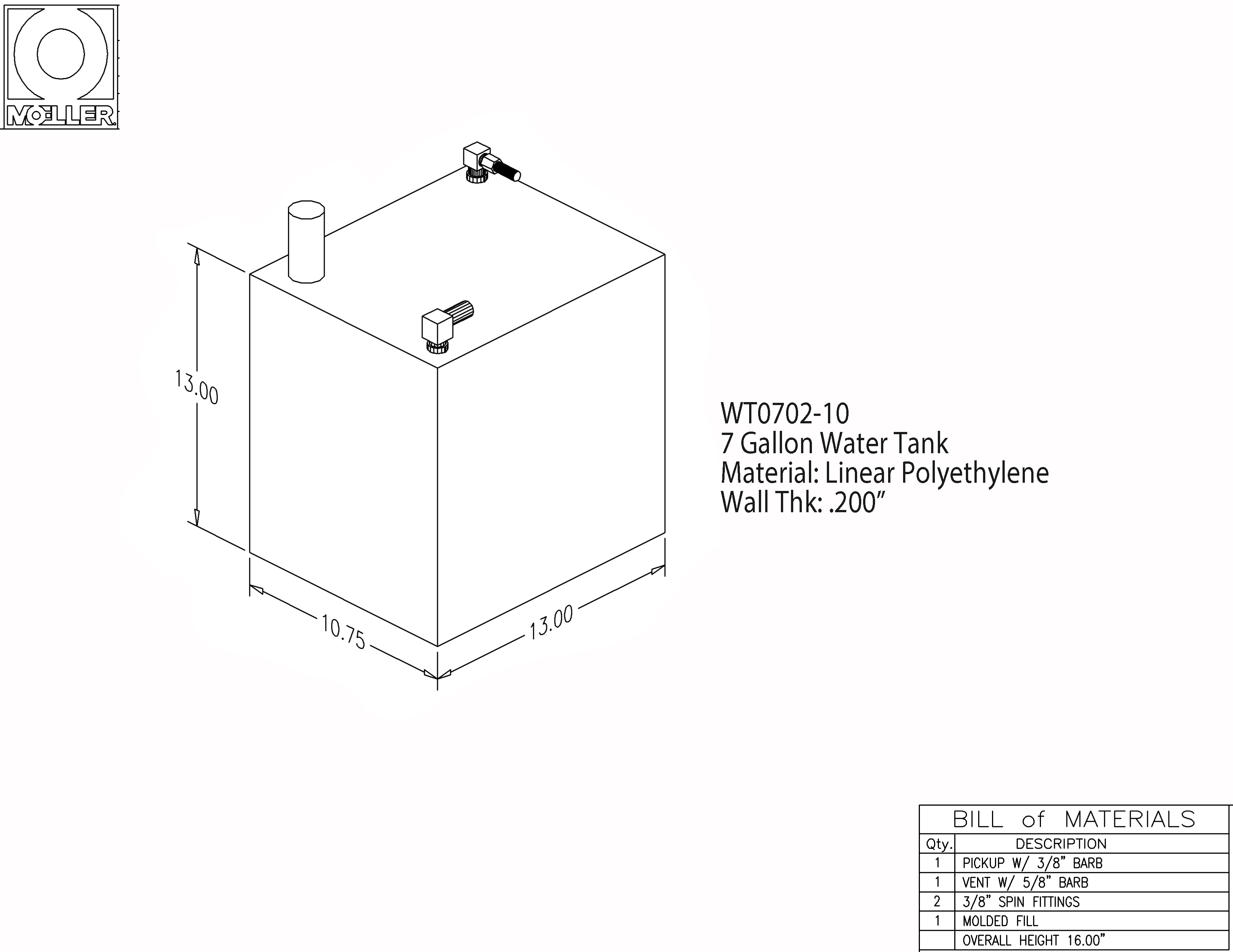 7 Gallon Rectangular Shaped Waste/Water Tank, 13″x10.75″x13″, WT0702-10