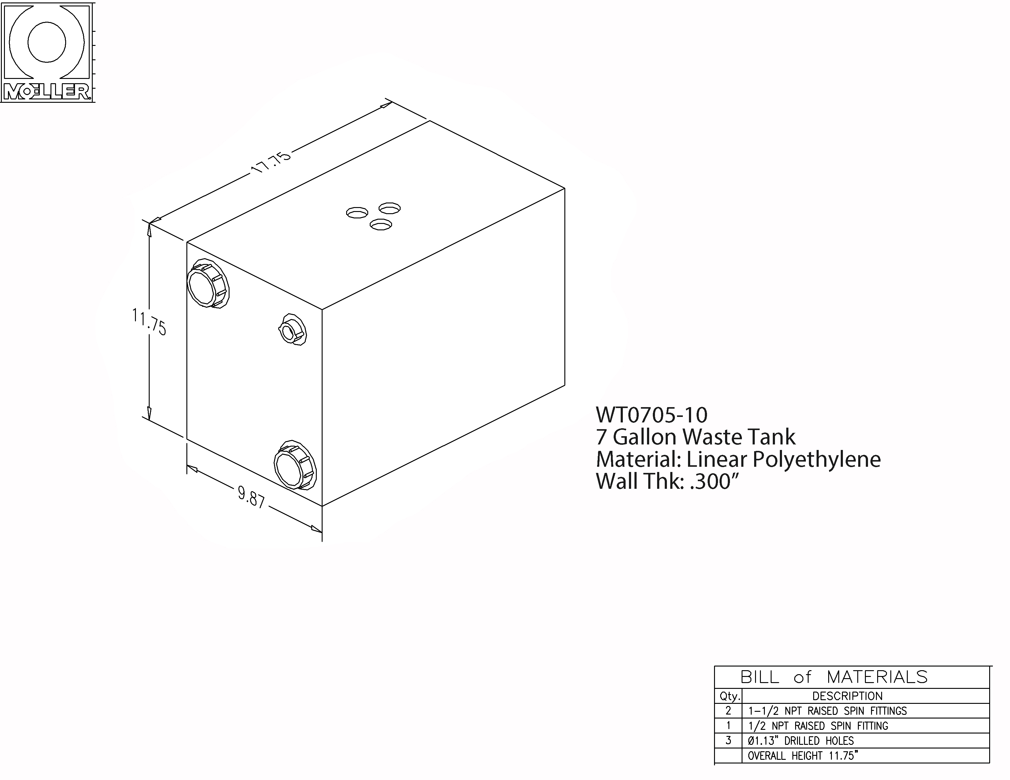 7 Gallon Rectangular Shaped Waste/Water Tank, 17.75″x9.87″x11.75″, WT0705-10