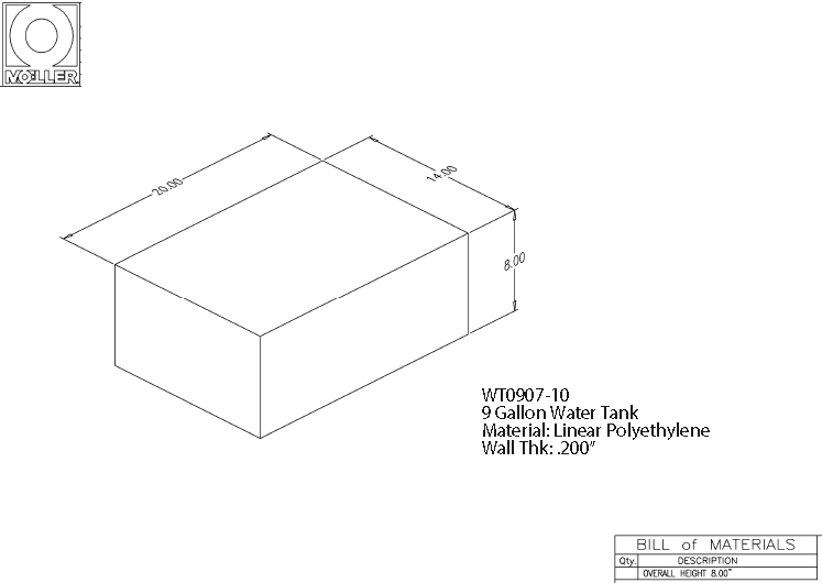 9 Gallon Rectangular Shaped Waste/Water Tank, 20″x14″x8″, WT0907-10