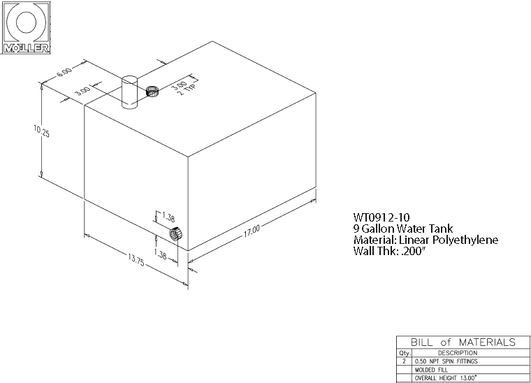 9 Gallon Rectangular Shaped Waste/Water Tank, 17″x13.75″x13″, WT0912-10