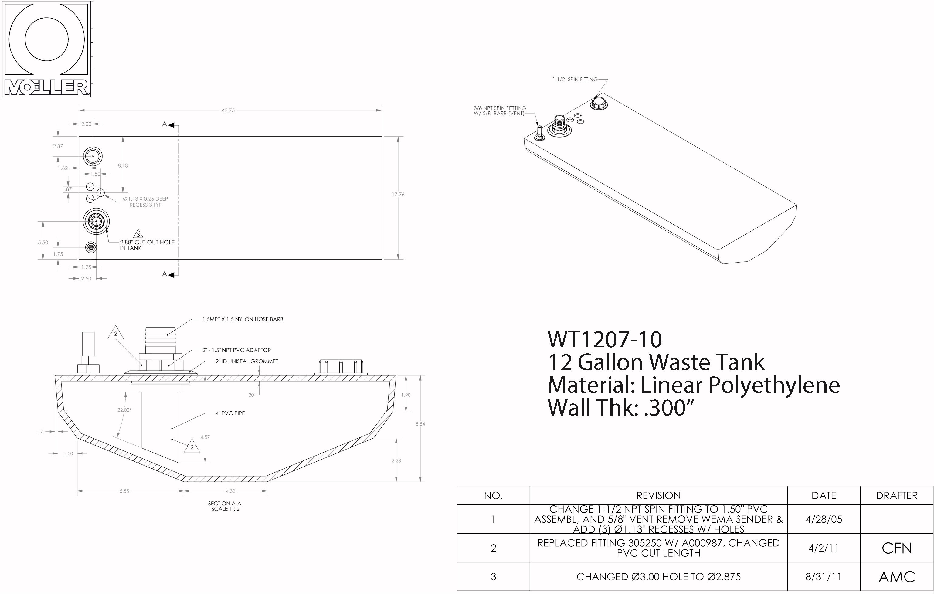 12 Gallon Belly Shaped Waste/Water Tank, 43.75″x17.76″x5.54″, WT1207-10