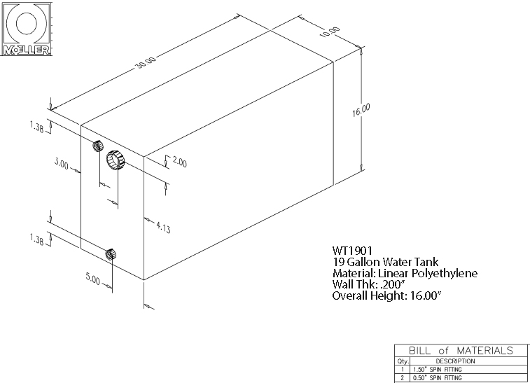 19 Gallon Rectangular Shaped Waste/Water Tank, 30″x10″x16″, WT1901