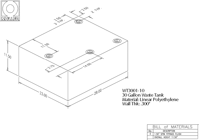 30 Gallon Rectangular Shaped Waste/Water Tank, 28″x23″x11.5″, WT3001-10